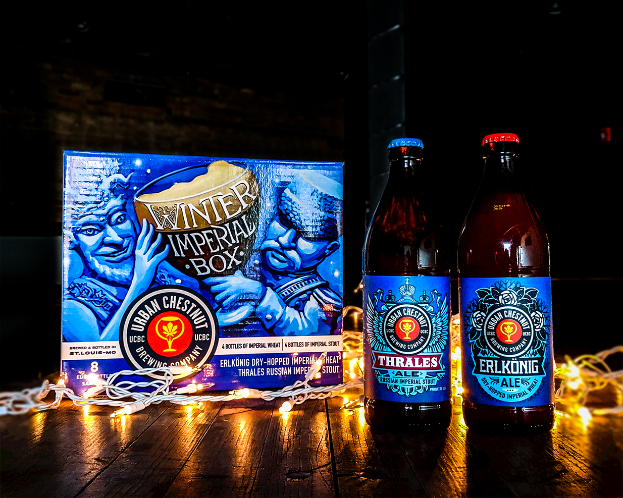 Urban Chestnut's Winter Imperial Box featuring Thrale's, Russian Imperial Stout, and Erlkönig, Dry-Hopped Imperial Wheat