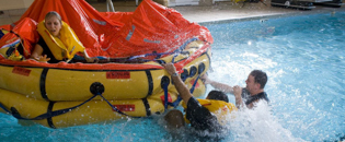 Ditching safety exercise on rescue raft