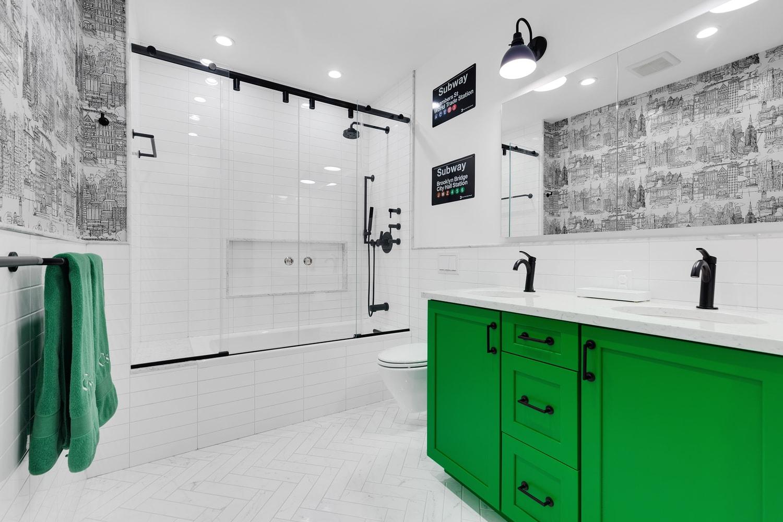 Green inspired bathroom NYC