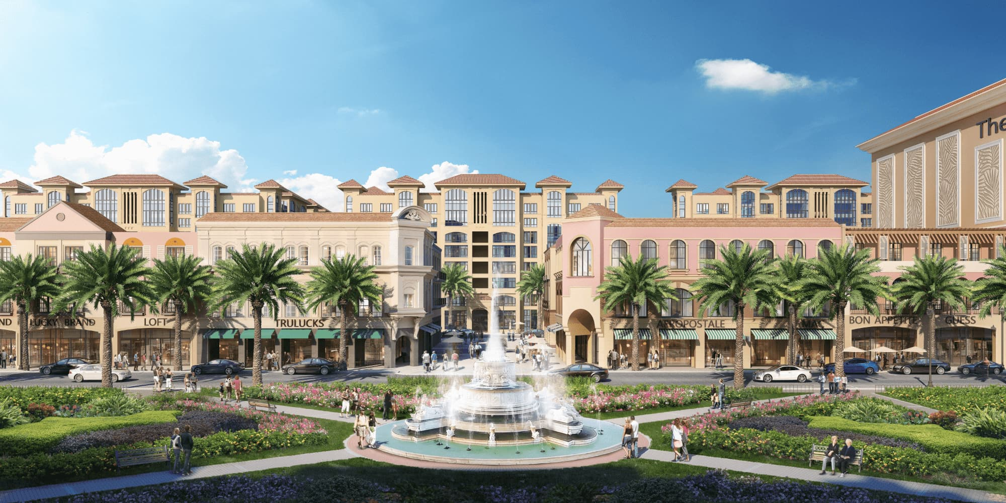 Park Fountain and Retail rendering for CCWO