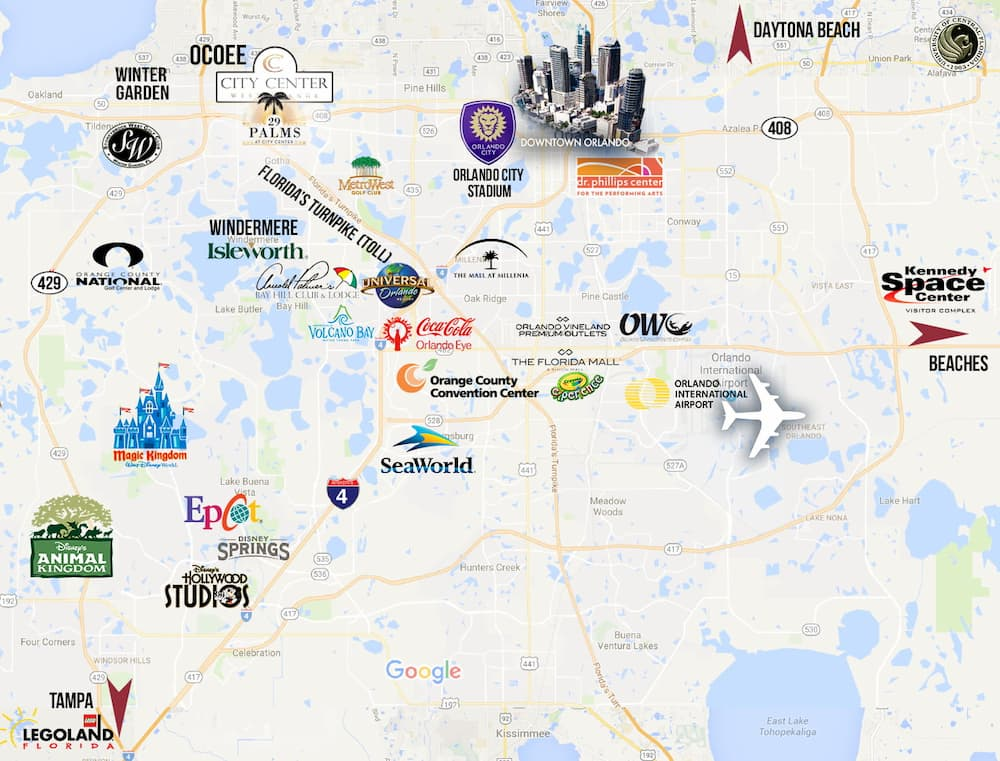 Map of Orlando, FL with attractions