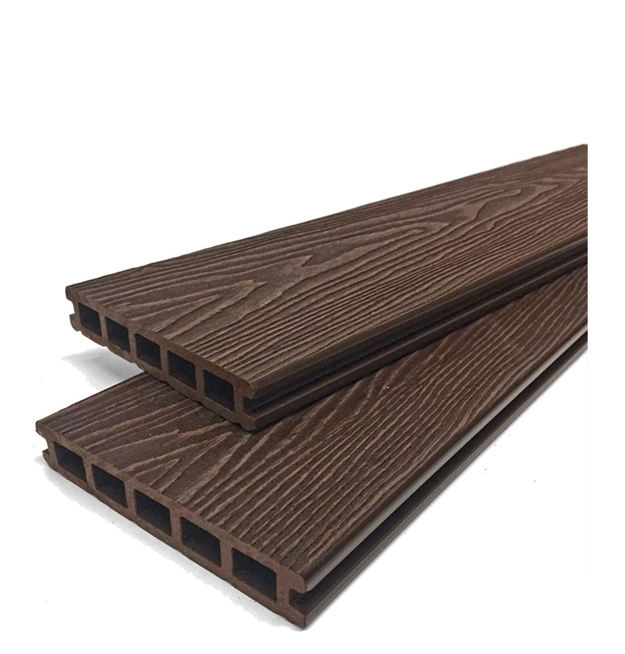 Mahogany Brown Reversible Woodgrain Composite Decking Kit 3.6m Boards (Price per sqm/£27 per board)
