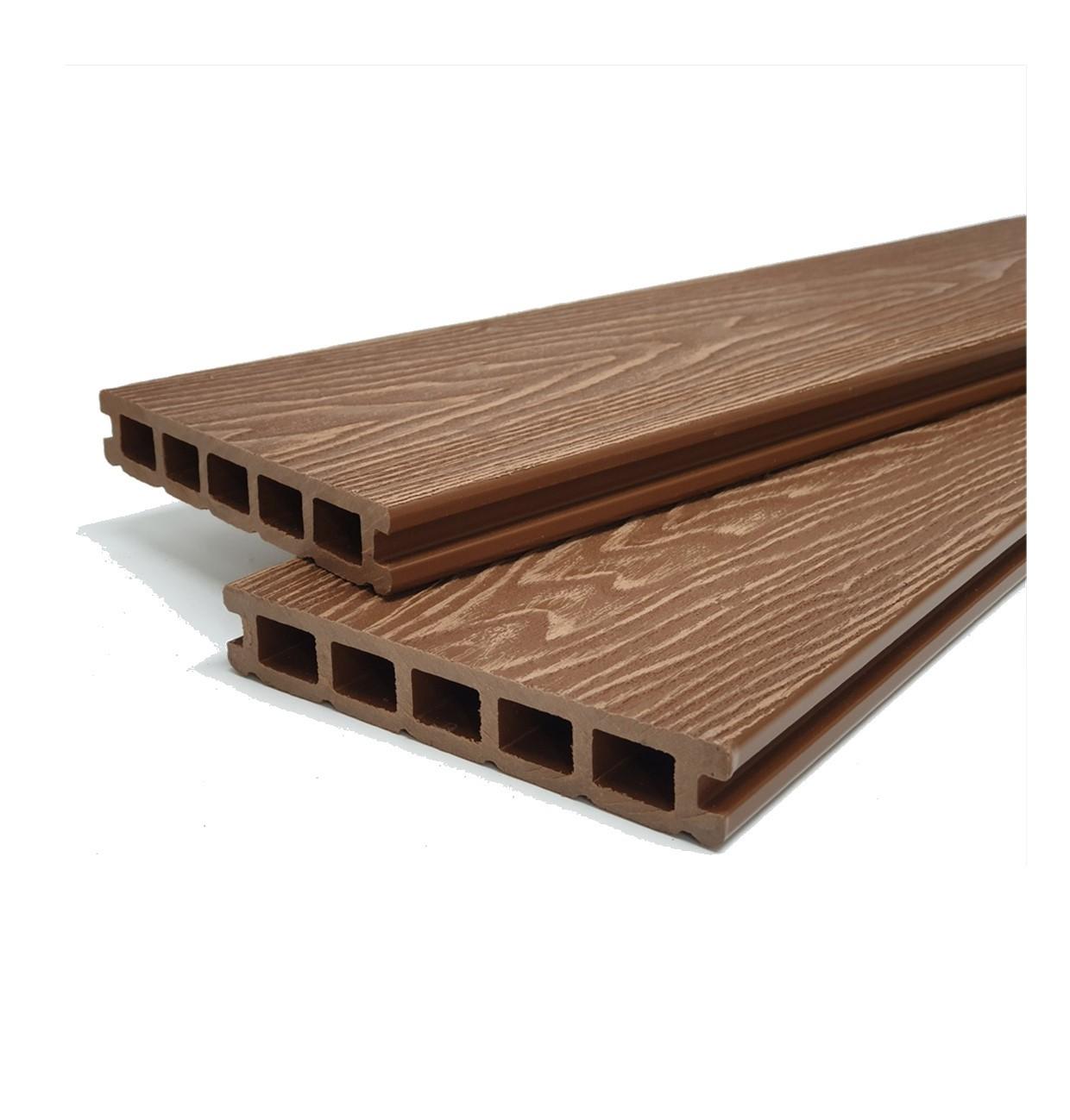 Teak Brown Reversible Woodgrain Composite Decking Kit 3.6m Boards (Price per sqm/£27 per board)