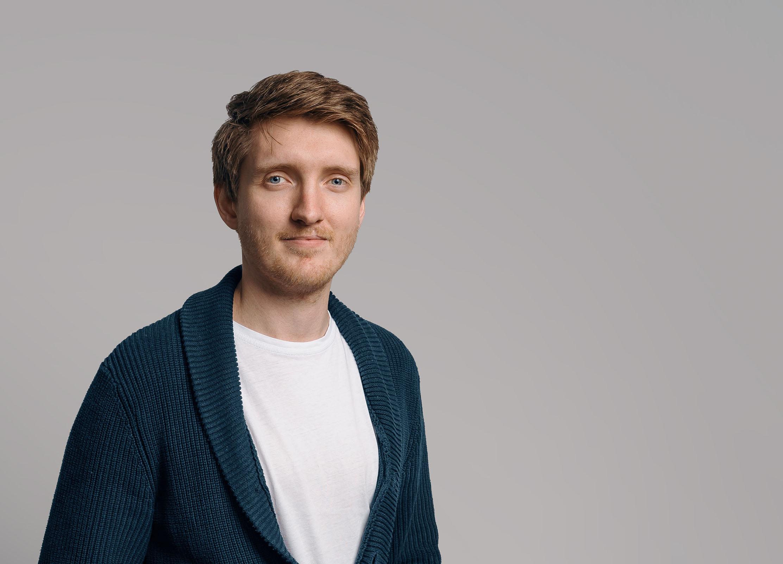 Light-haired man smiling