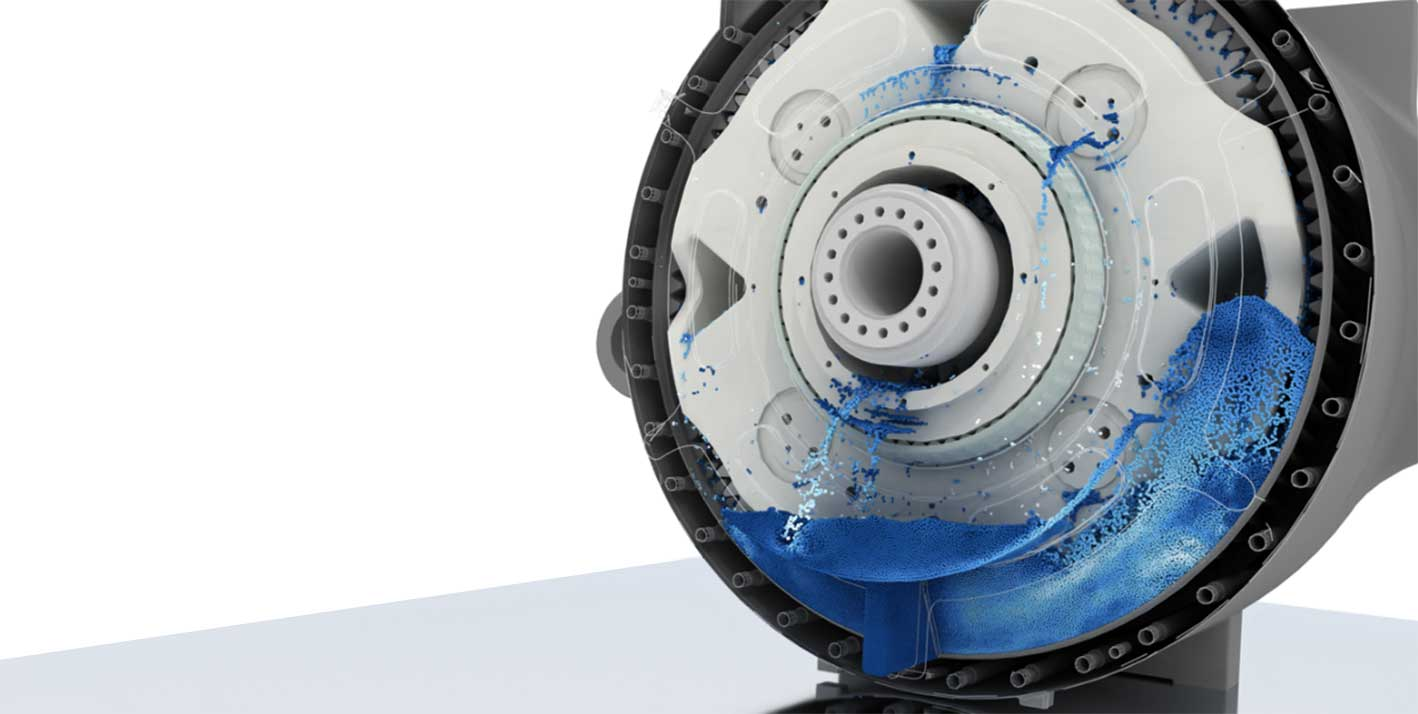 Gearbox Lubrication. Simulated blue particles on gear white made with smoothed particle hydrodynamics
