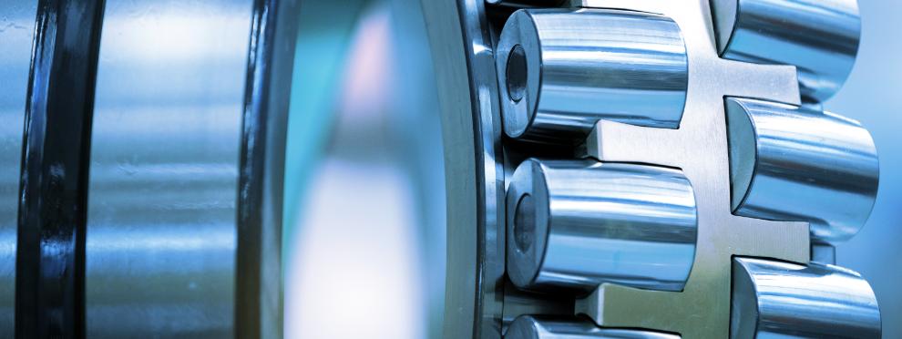 Silver metal roller bearing up close