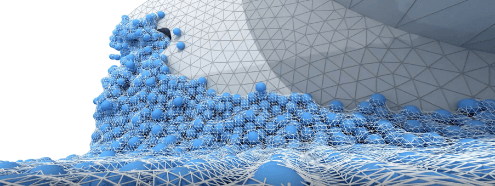 Blue fluid simulation particles on grey mesh gear