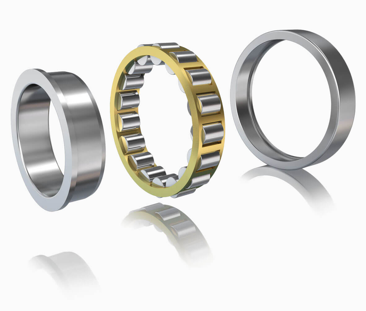 Silver metal roller bearing up close