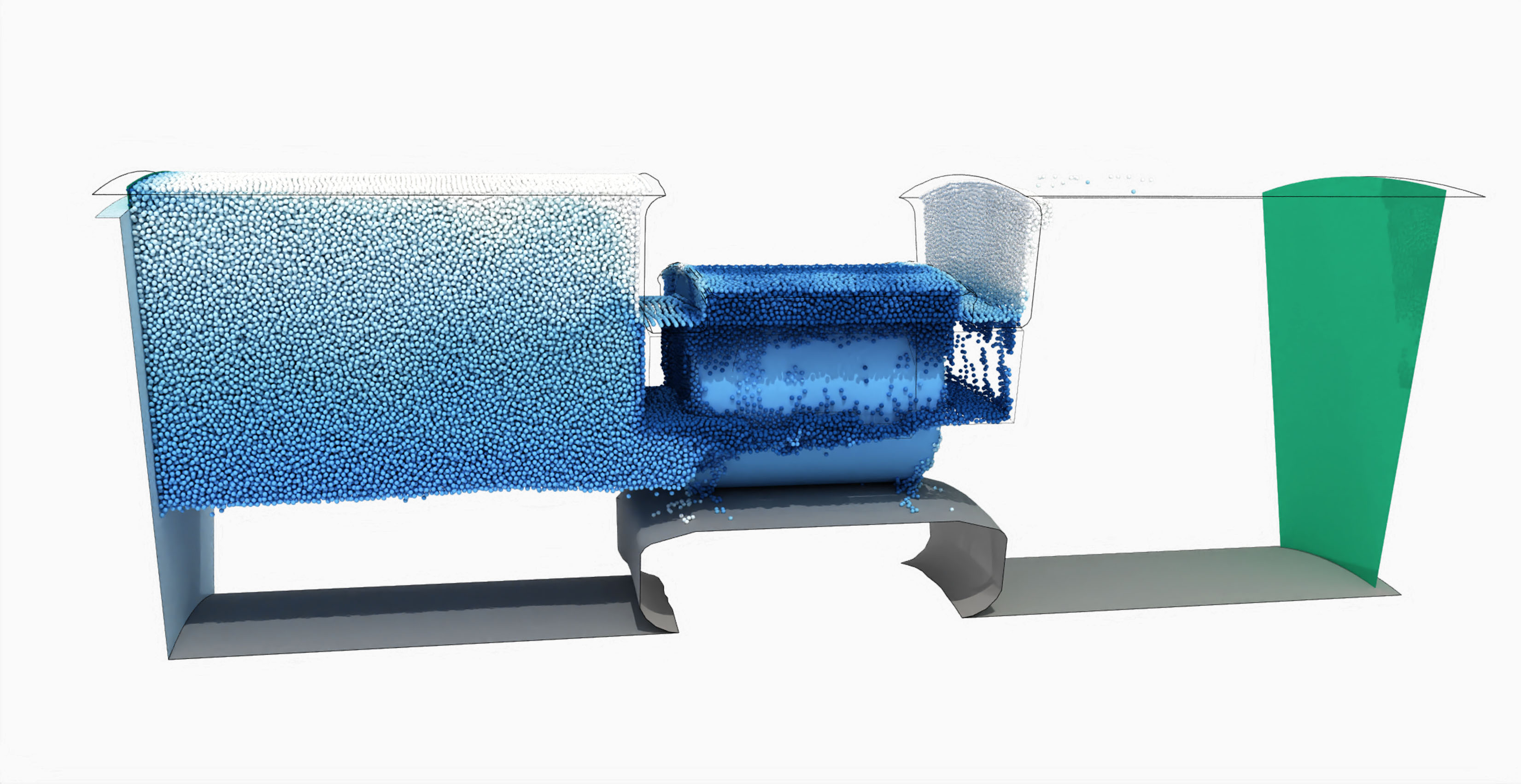 SPH simulation of machine with roller bearing showing particles and their velocities