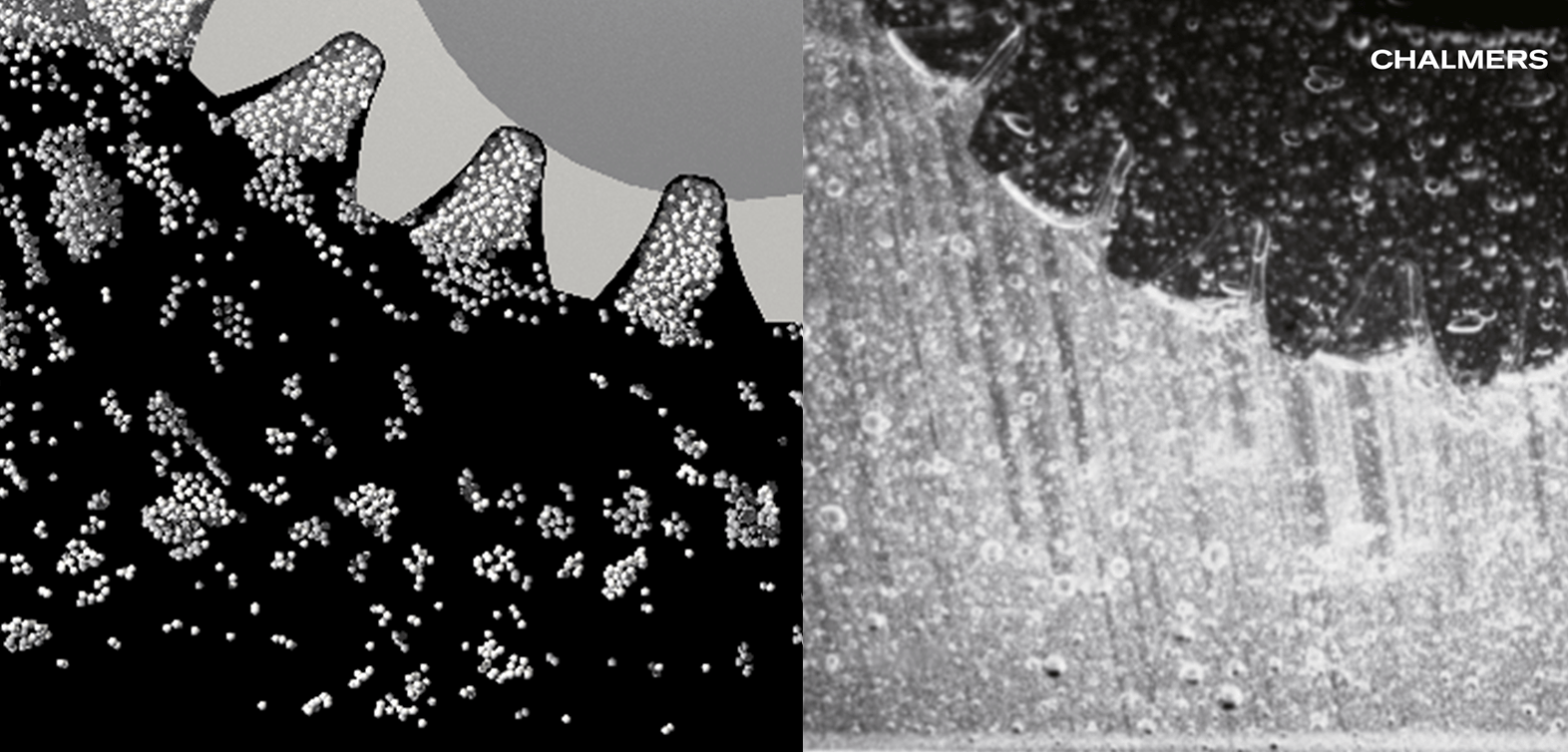 Comparison of air bubbles forming in simulation (left) and experiment