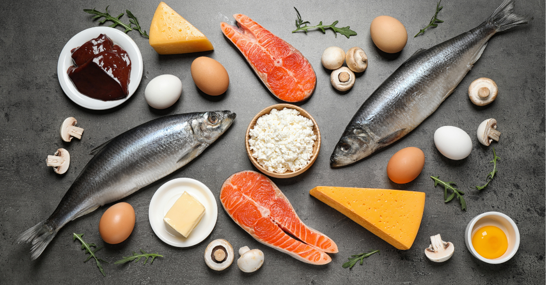 Foods rich in Vitamin D (fish and eggs) flat lay