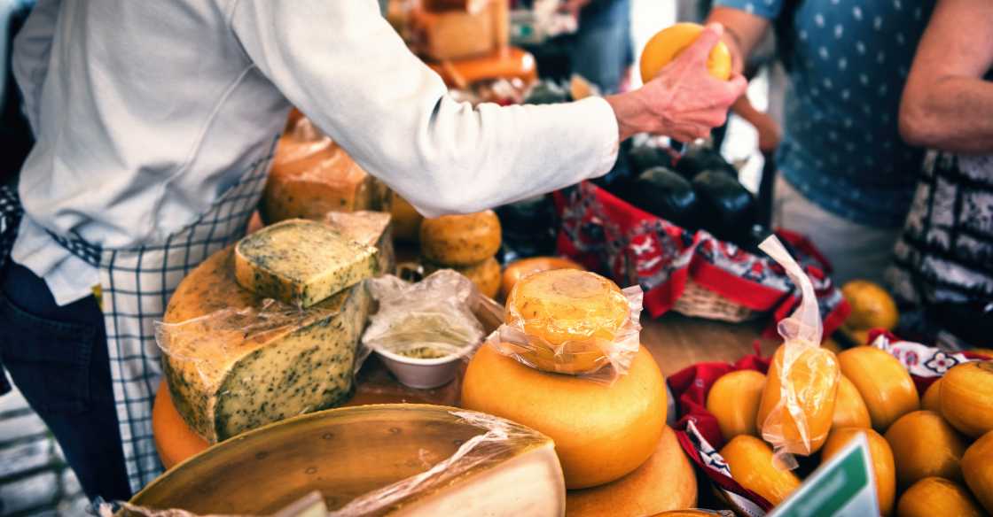 Cheese being sold at the farmer's market