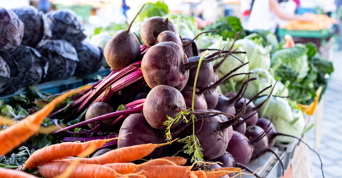 Table of vegetables at the farmer's market