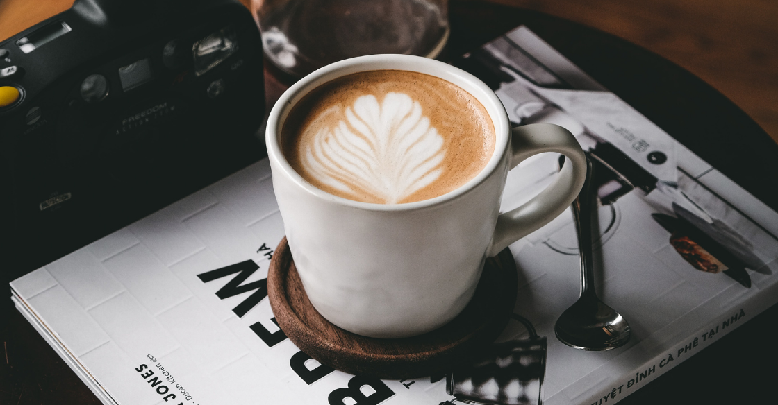 Collagen Latte sitting on a table