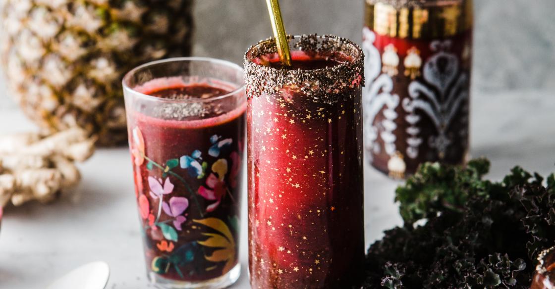 Beet Juice in ornate glasses