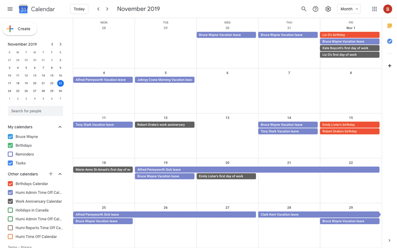 Humi's Time Off software - Google Calendar Ingegration