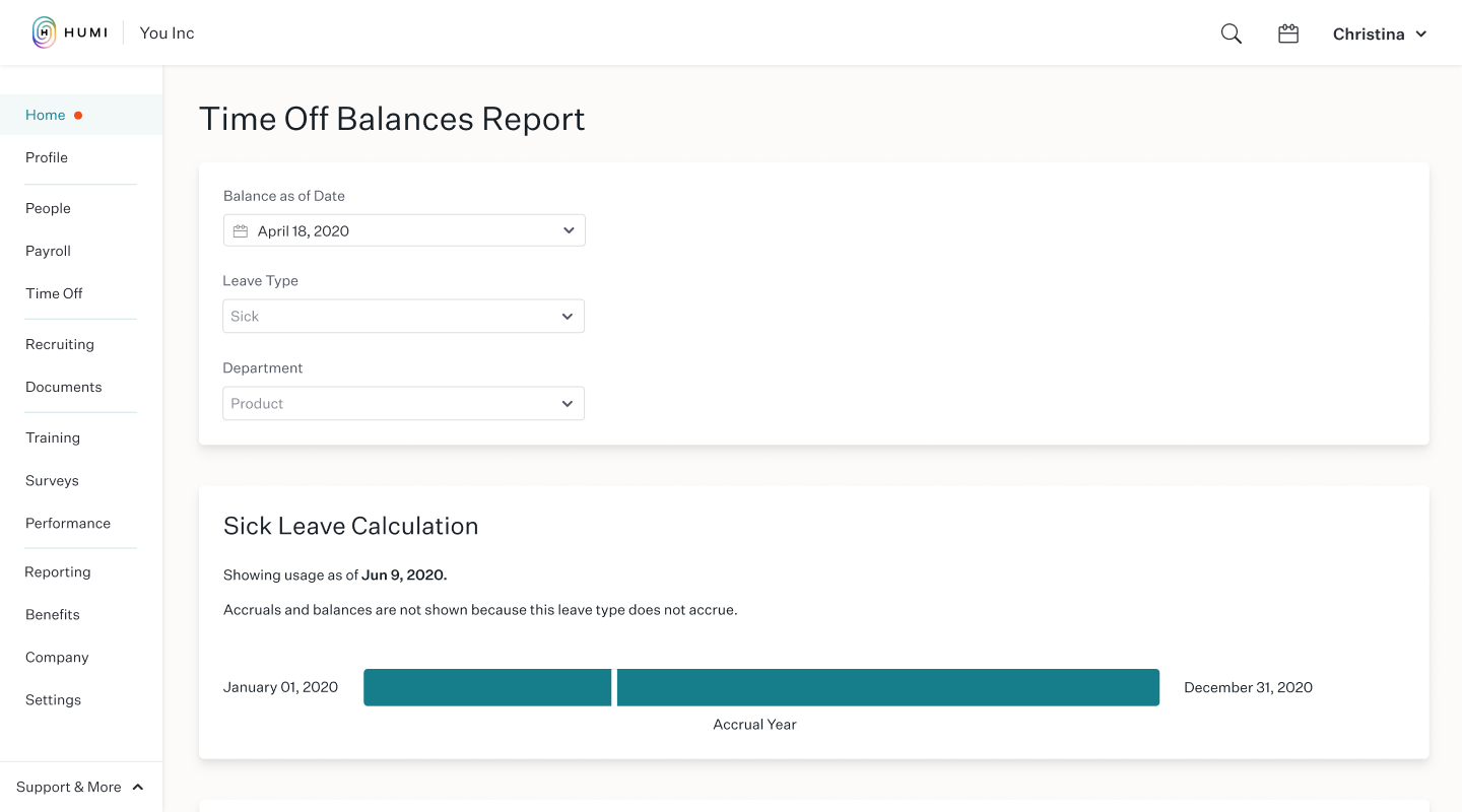 Time Off Balance Report in Humi
