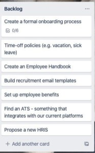 HR Backlog showing Create an Onboarding Process as one of the items
