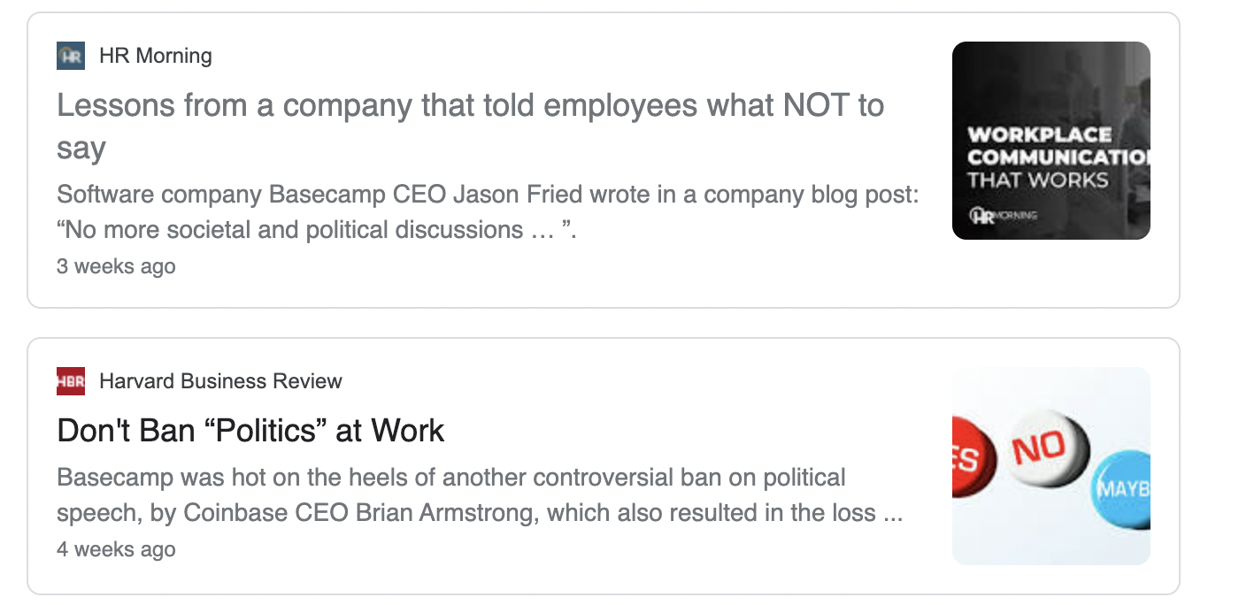 Screenshot of Basecamp's latest headlines on google news