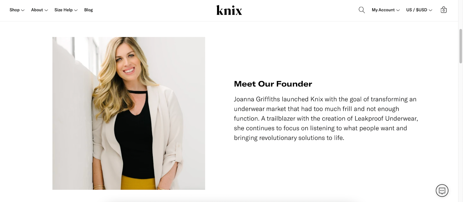 """Screenshot of Knix's """"Meet Our Founder"""" section on their websitet"""