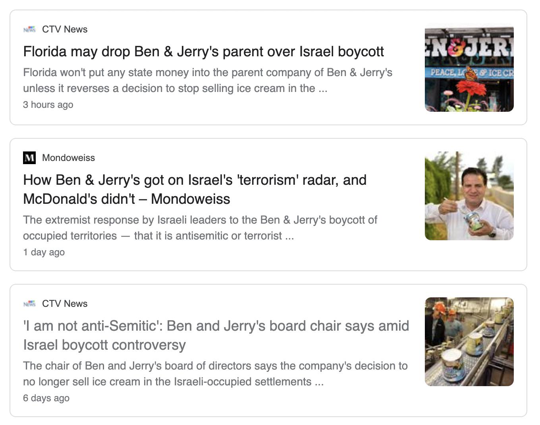 Screenshot of Ben and Jerry's latest headlines on google news