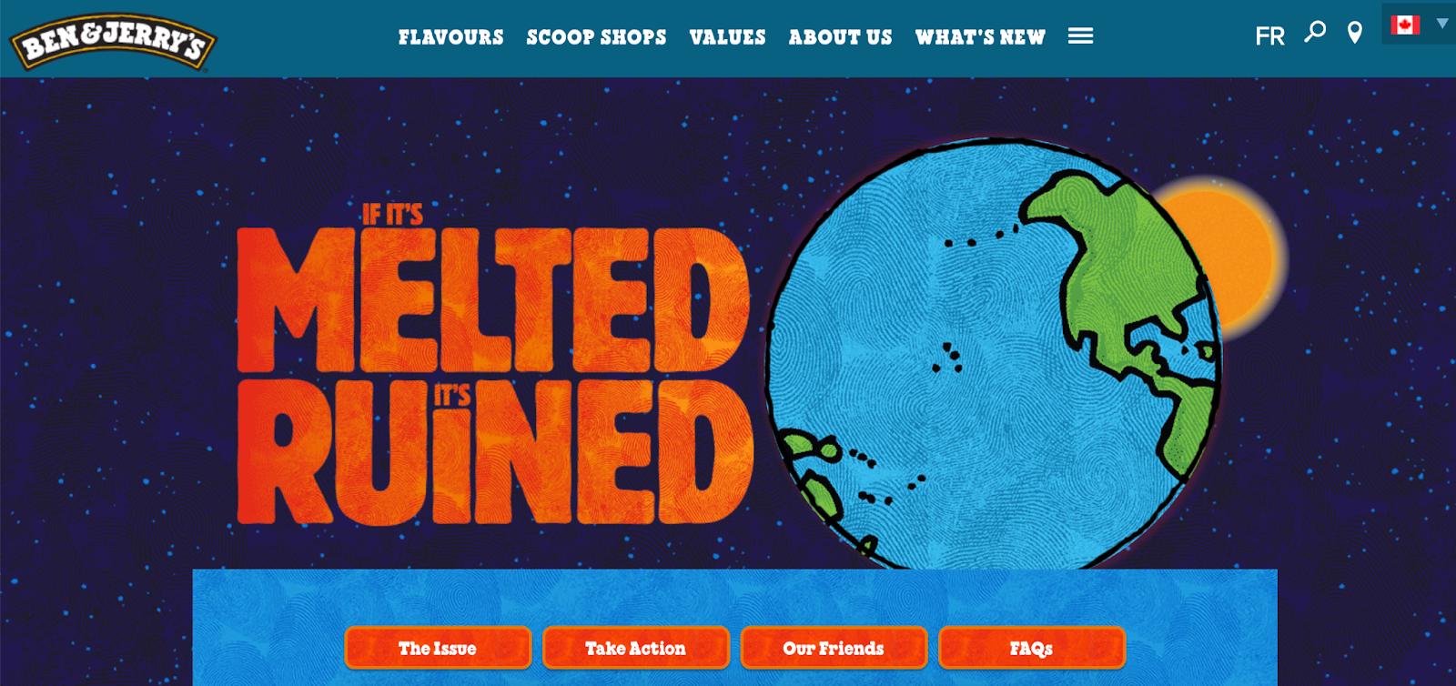 Screenshot of Ben & Jerry's website