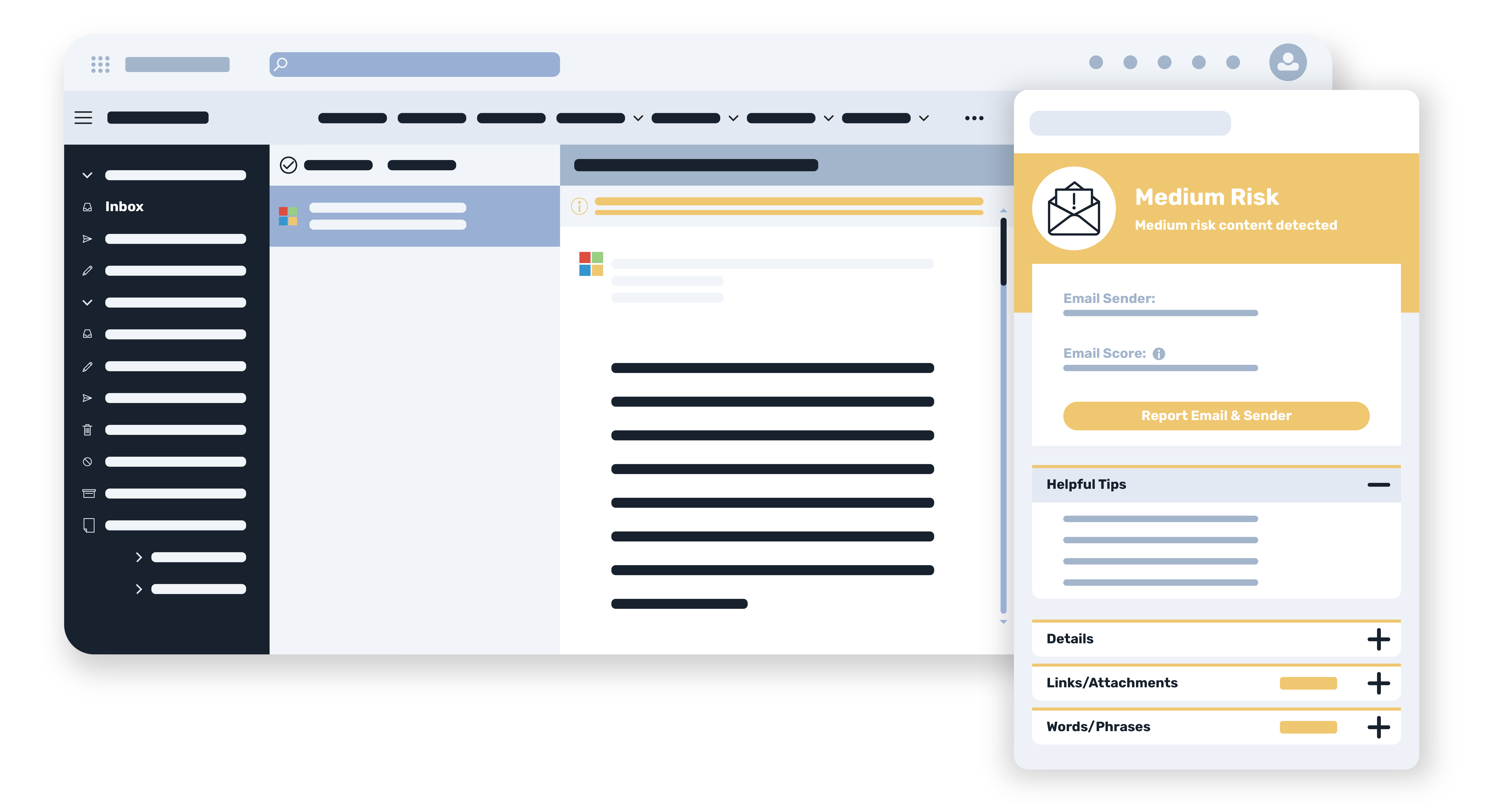 A mockup of the phishing reporting plugin
