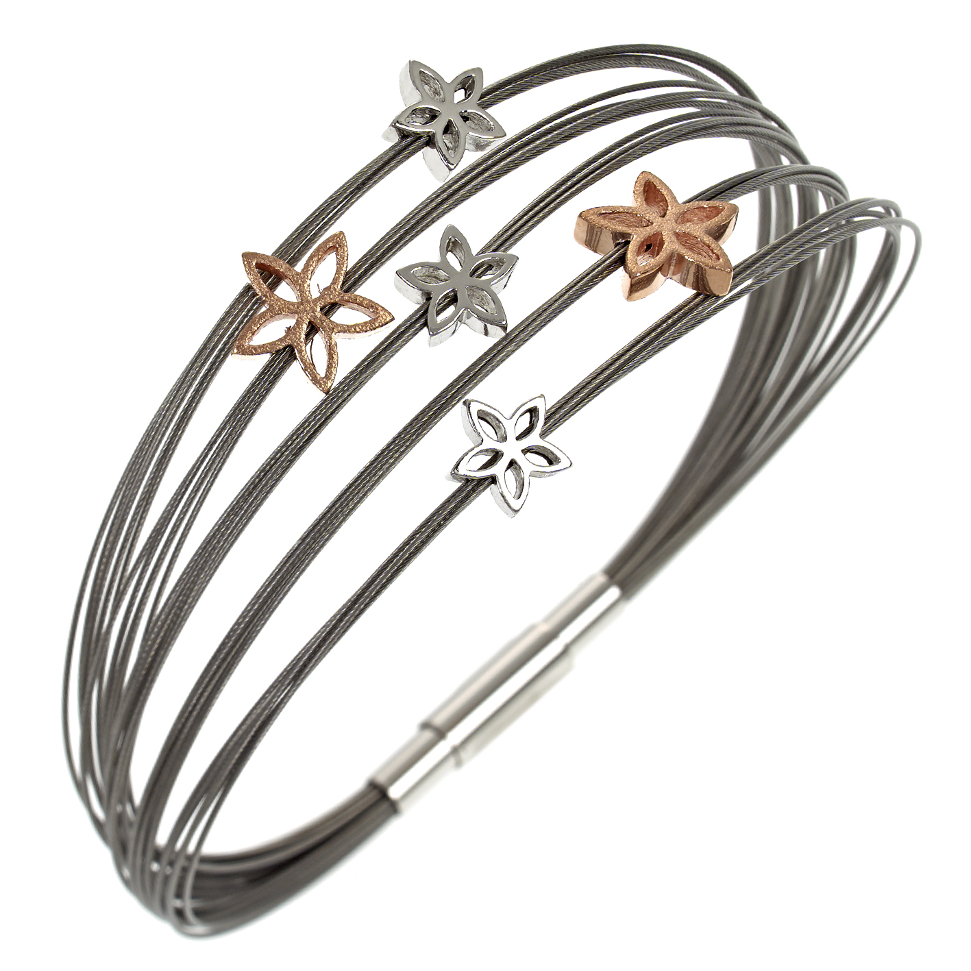 Armband Multistrang Flowers bicolor Silber/Rosé SCB46/4/18