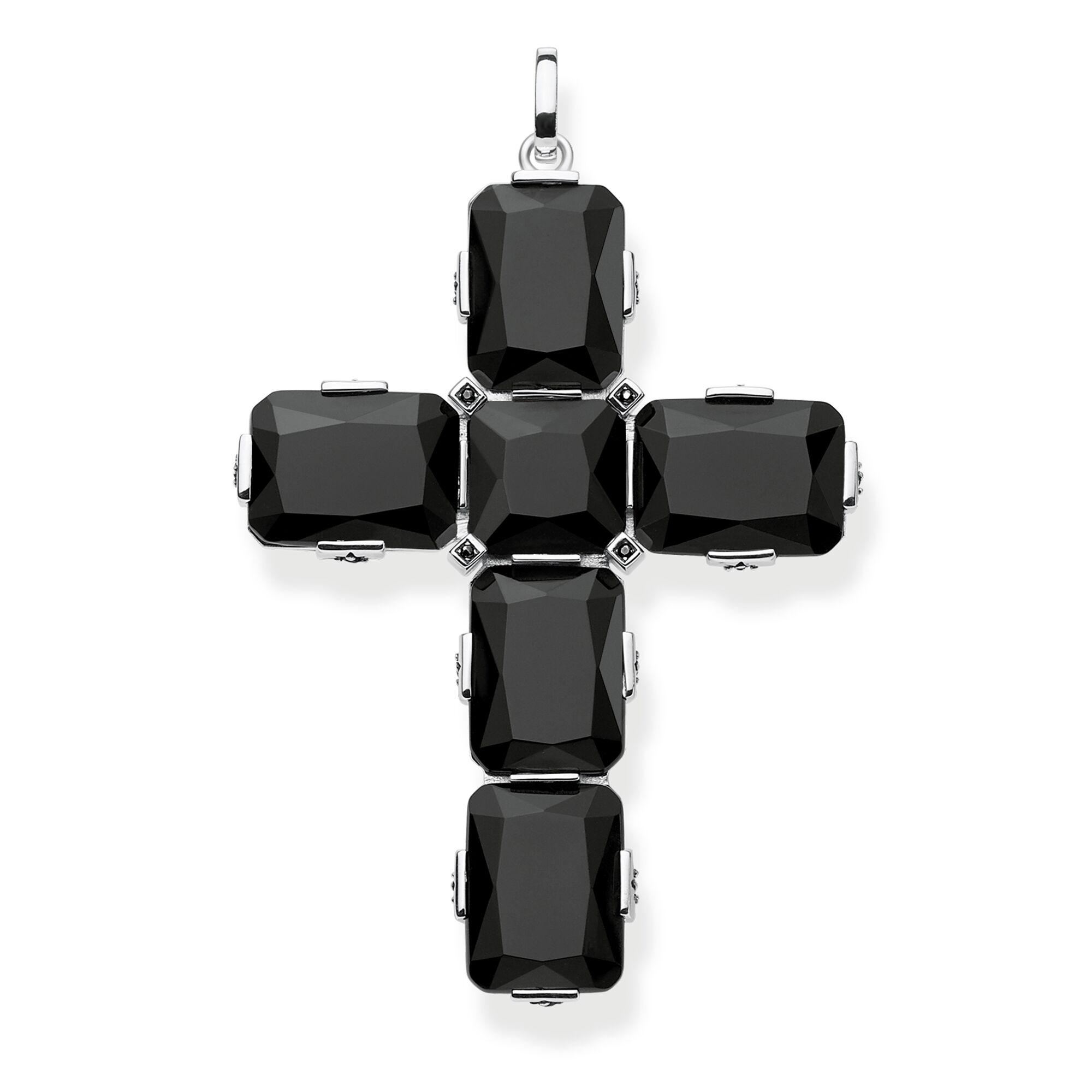 Anhänger Kreuz Schwarze Steine PE858-641-11