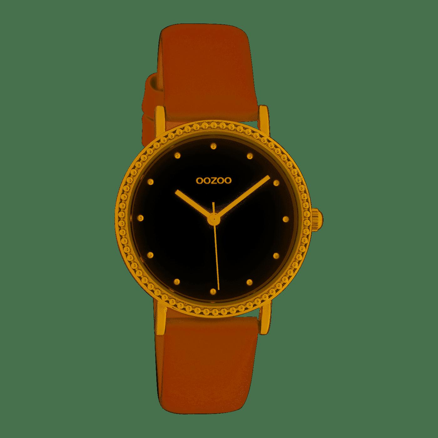 Damenarmbanduhr in zartrosa Leder und vergoldetem Gehäuse C10421