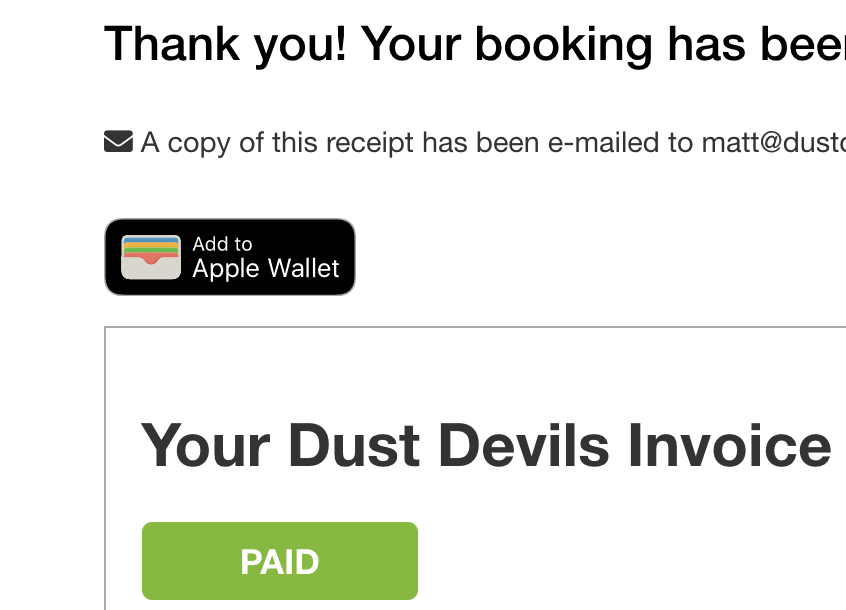 Apple wallet booking confirmation