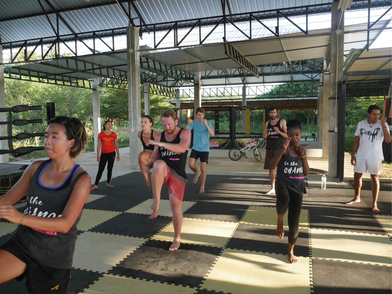 Our first program's tribe on their fitness bootcamp in Thailand