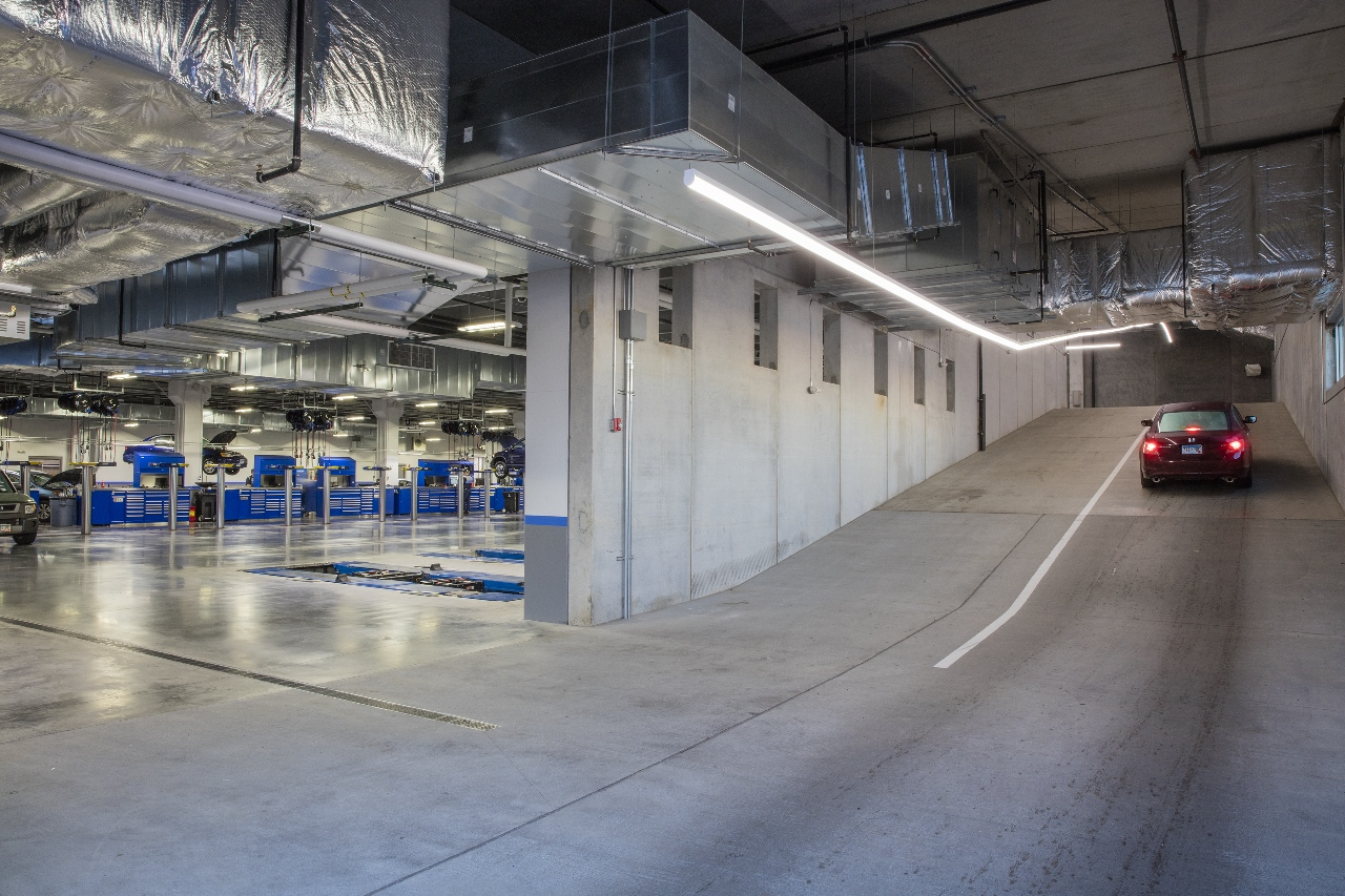multi-story underground service area makes efficient use of the space