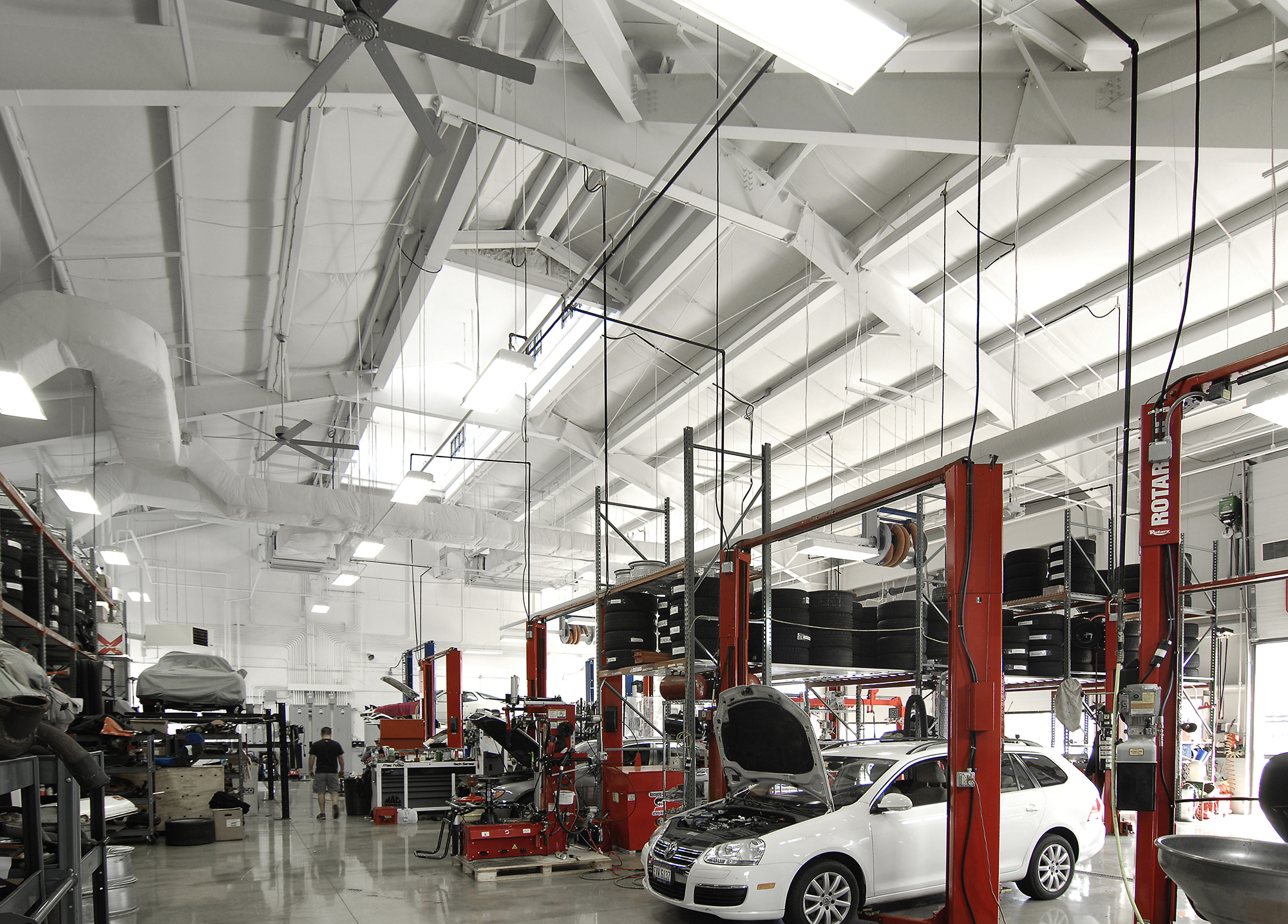 11-bay service center with open space and bright lighting