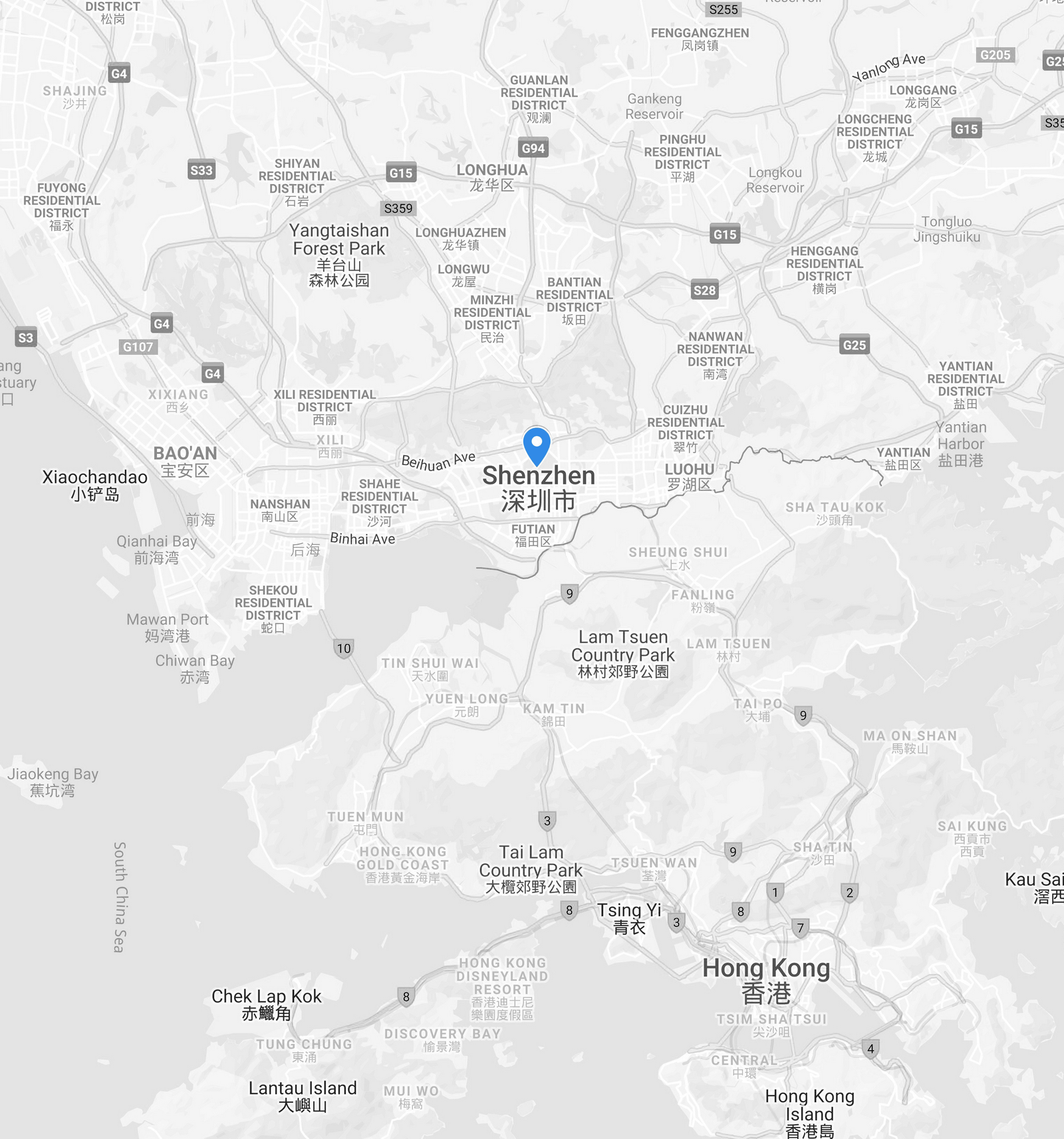 Greater China Map Shenzhen Hong Kong NOA Labs