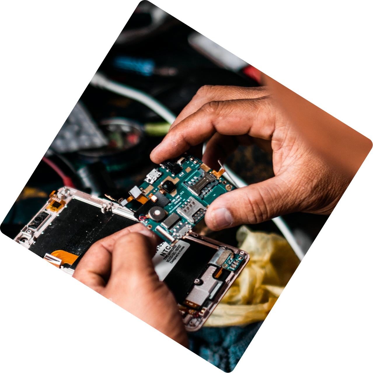 Person assembling an electronic device