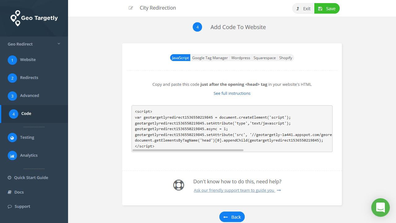 Add code to website