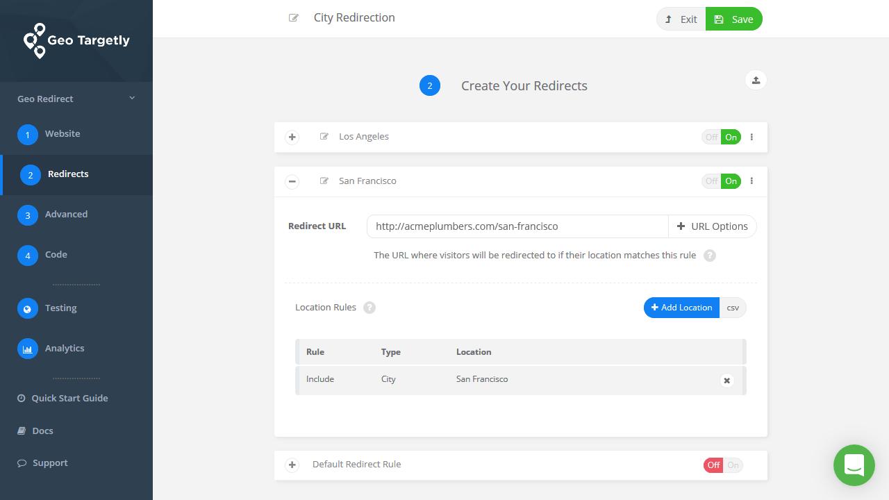 Add multiple city redirect rule