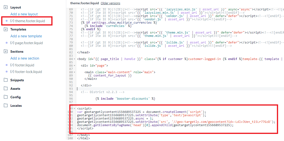 paste geo content code snippet in Shopify code footer