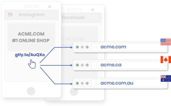 Drive traffic from social media platforms to location-specific domains