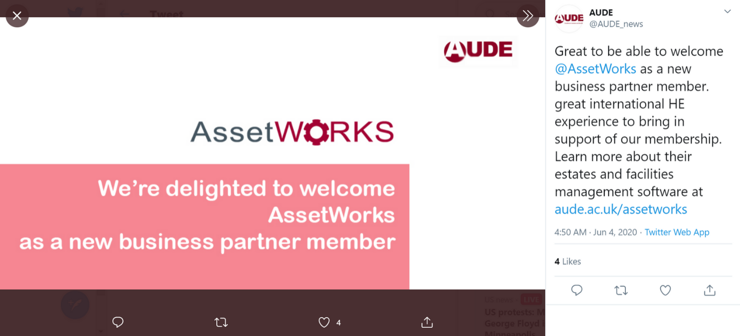 AUDE Announces AssetWorks as a business partner member