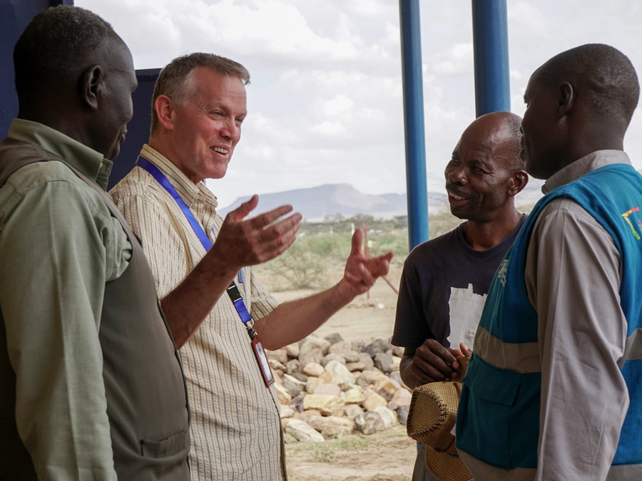 Visiting with refugee pastors in Kakuma