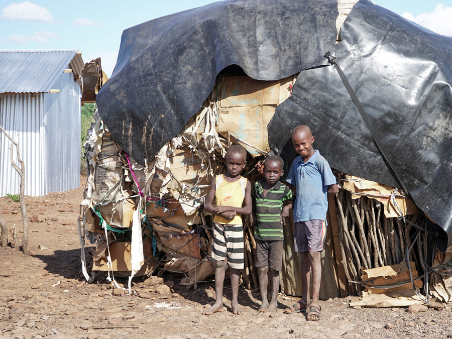 Children outside of their former home in the Kakuma IDP camp