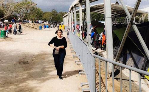 Sarah Miller researching Matamoros camp on the Southern Border
