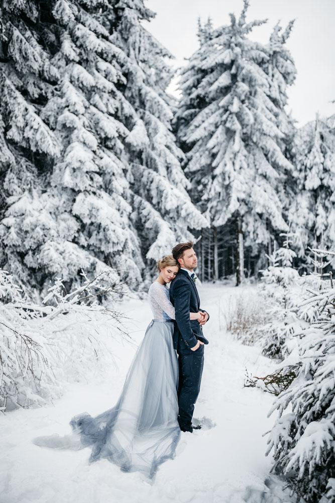 Fine Art Winterhochzeit mitten im Schnee