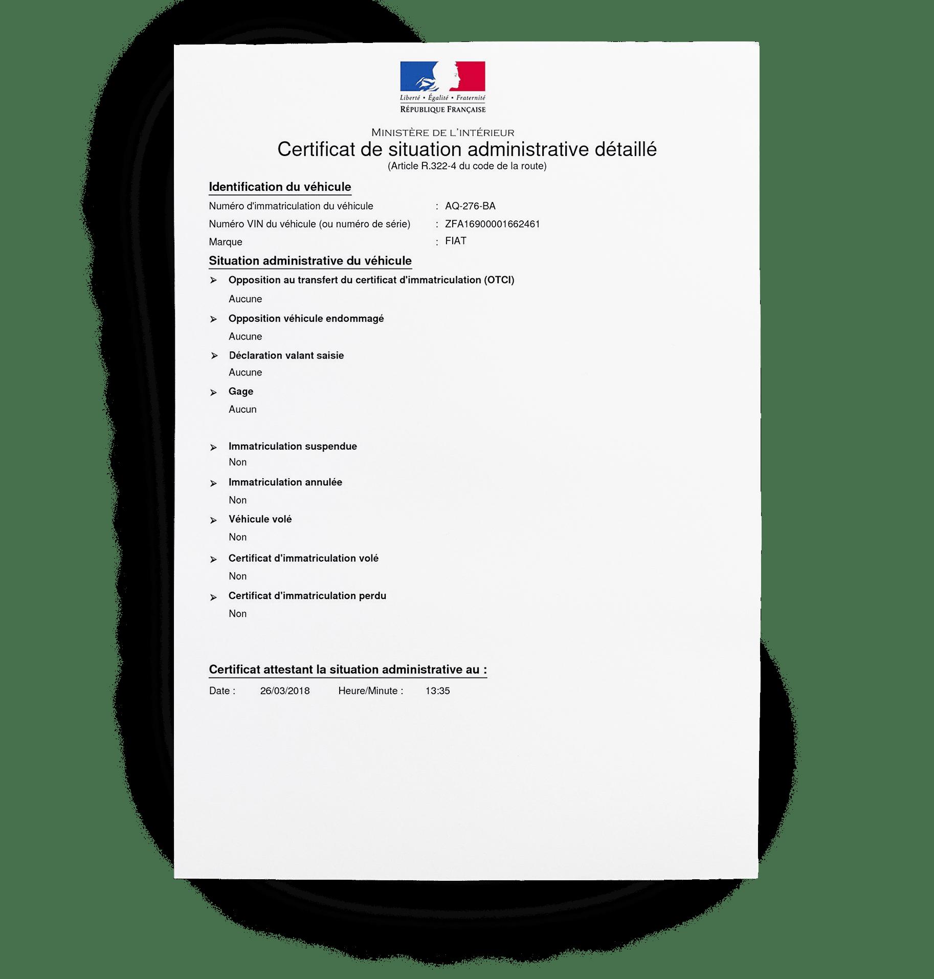 certificat de non-gage