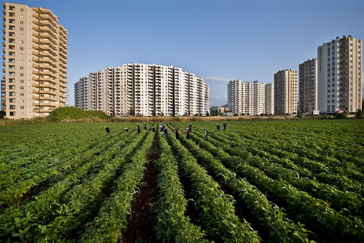 Tarımsal arazilere inşa yapılar.