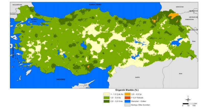 Türkiye Topraklarının Organik Madde Haritası (3)