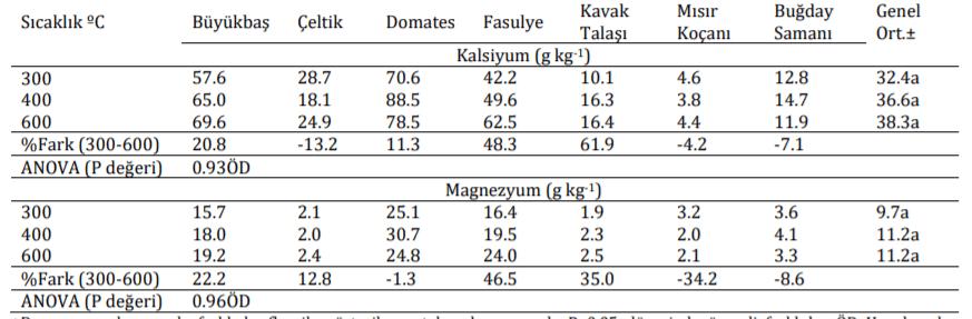 Farklı Sıcaklıklarda Üretilen Biyoçarların Kalsiyum ve Magnezyum İçerikleri (1)