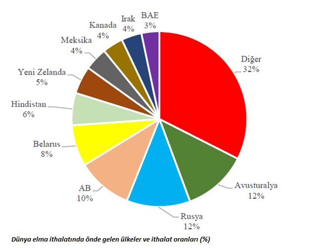 Dünya elma ithalatında önde gelen ülkeler ve ithalat oranları